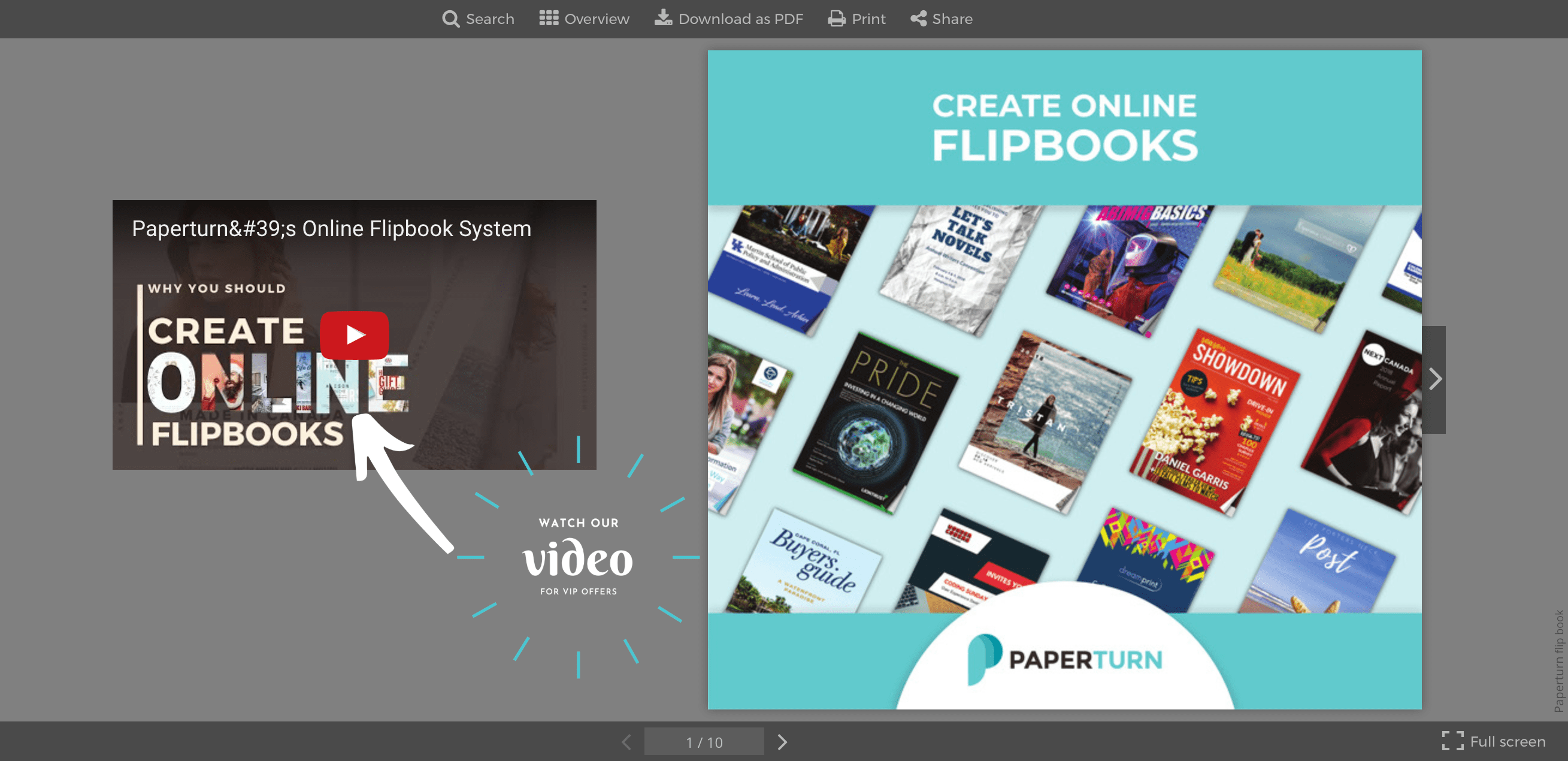 Advertising banner of a video displayed next to the front page of a flipbook in the Paperturn viewer
