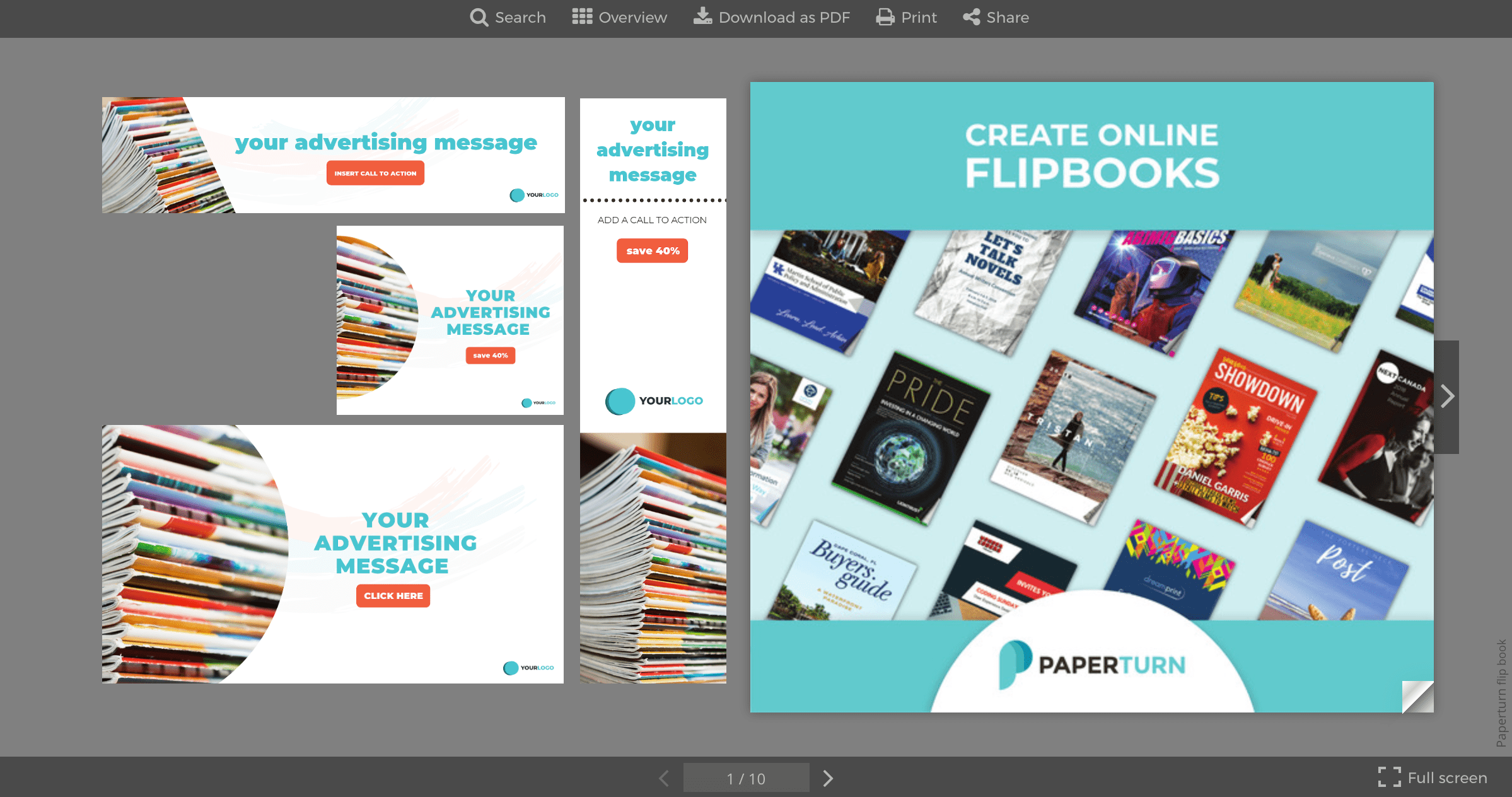 Examples of advertising messages displayed next to front cover of flipbook