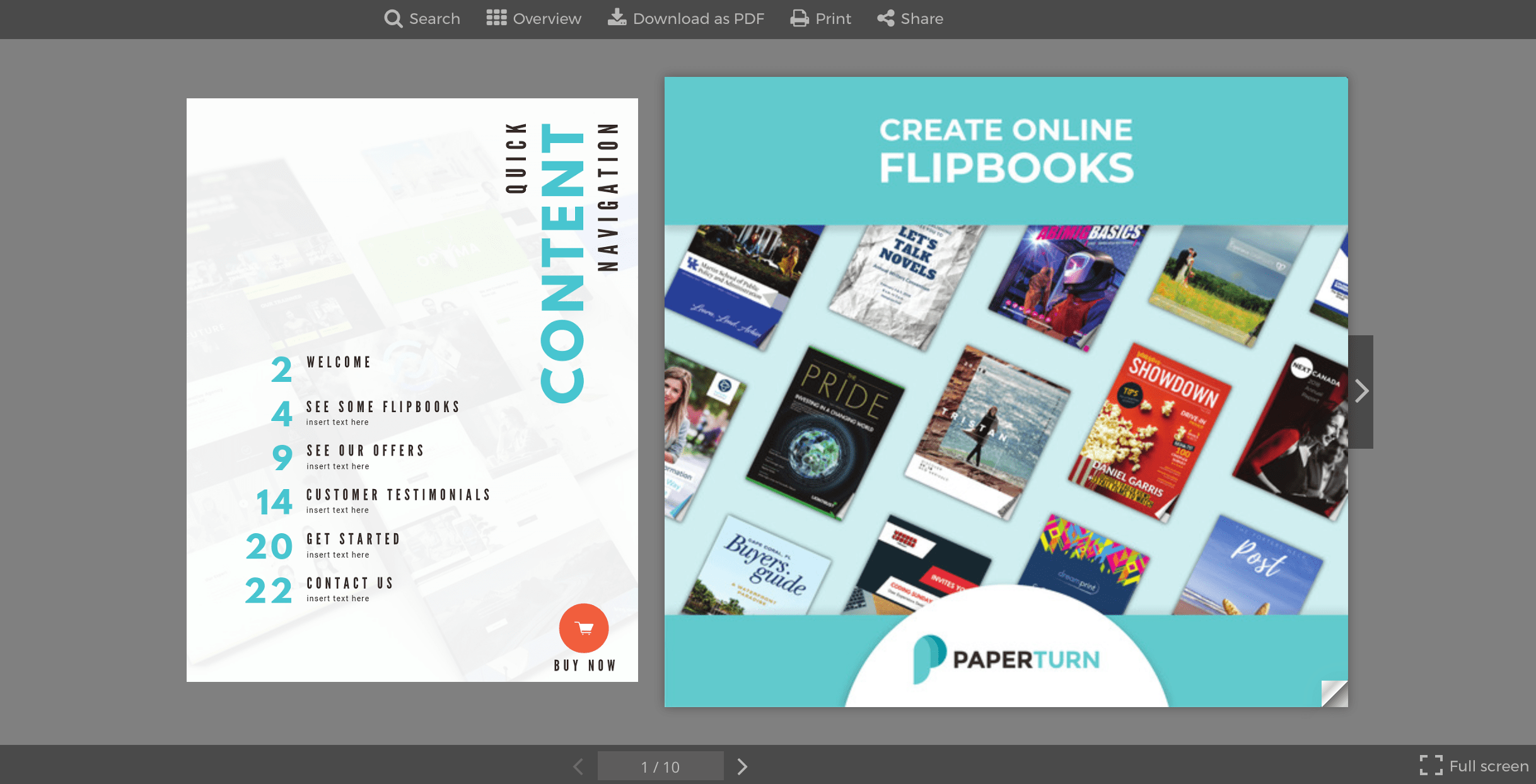 Table of contents displayed on the left hand side of a flipbook's front page